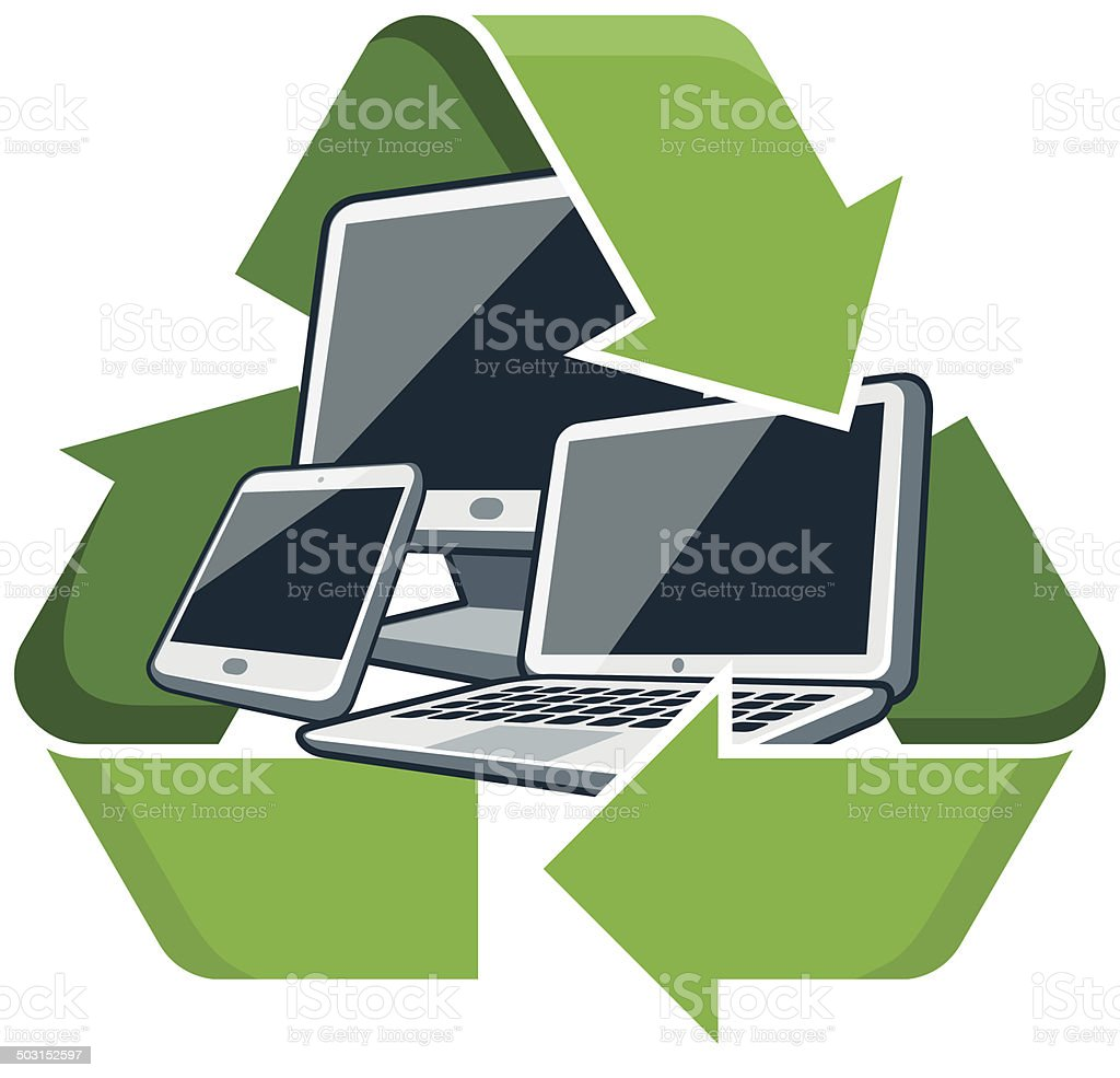 Recycle electronic devices vector art illustration