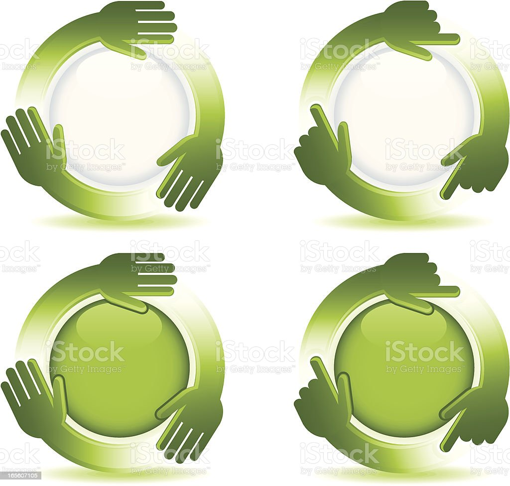 Recycle Hand Buttons royalty-free stock vector art