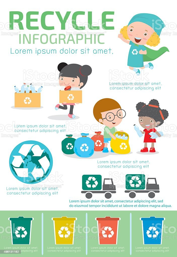 Recycle Infographic, collect rubbish for recycling,Save the World. vector art illustration