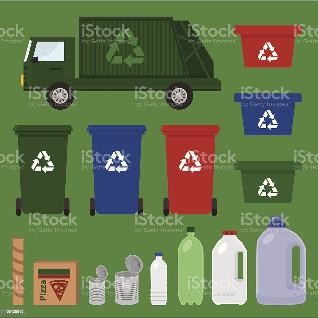 recycle items vector art illustration