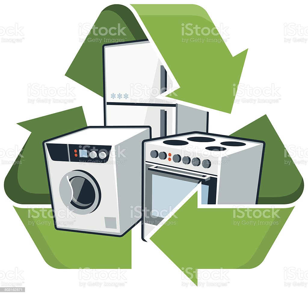 Recycle large electronic appliances vector art illustration