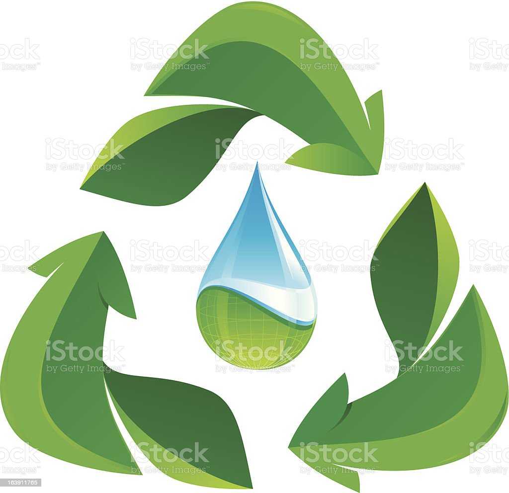 recycle leafs and water drop vector art illustration