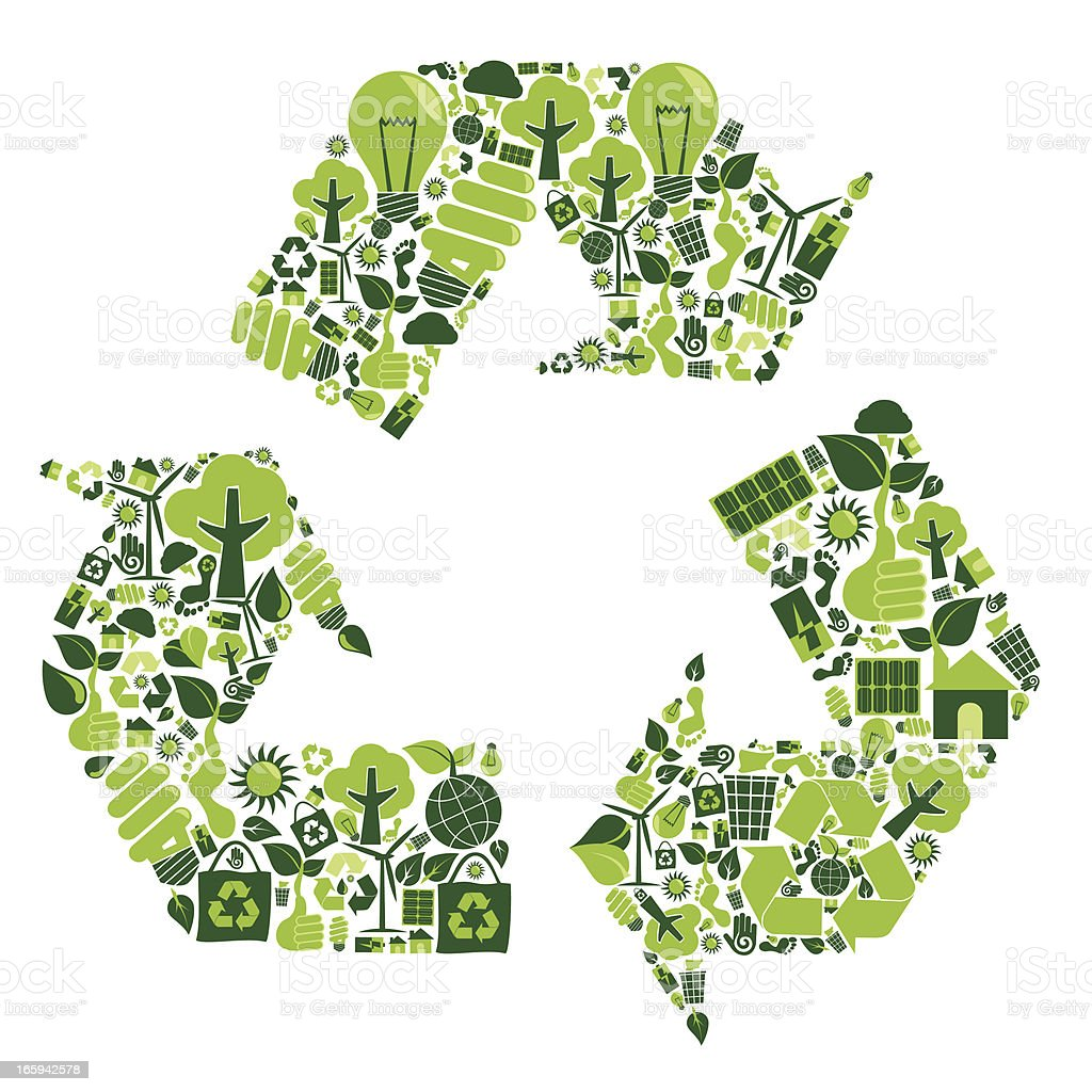 Recycle montage with green recycling symbols royalty-free stock vector art