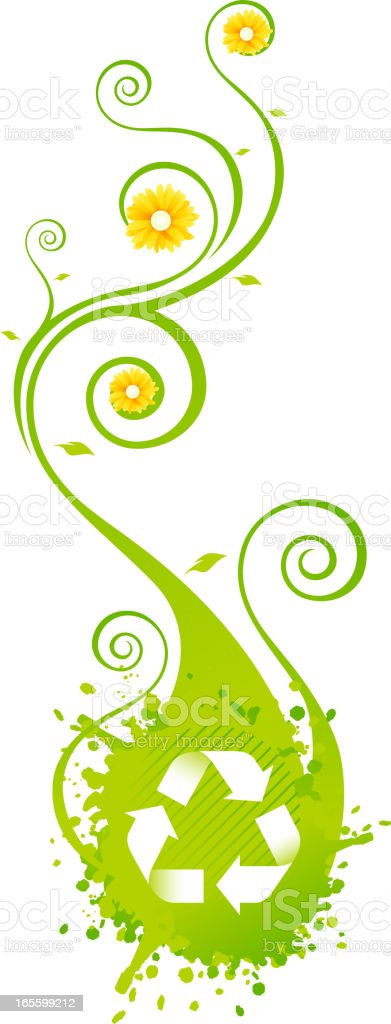 Recycle Sign Bloom Think Green Nature vector art illustration