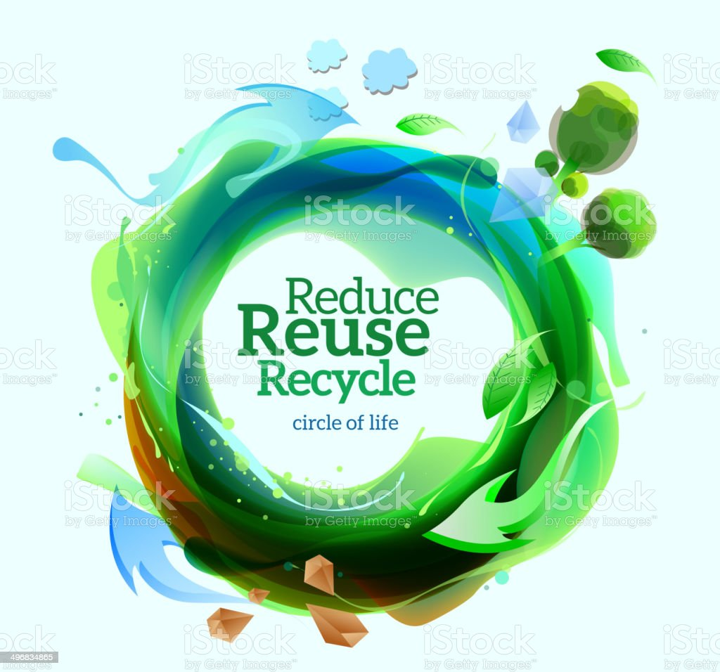 Recycle sign. go green, healthy life campaign vector art illustration