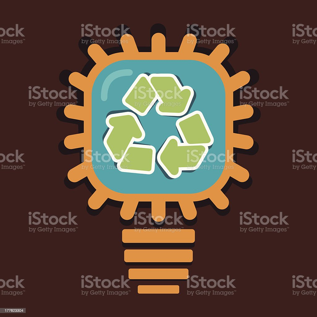 recycle symbol in bulb royalty-free stock vector art