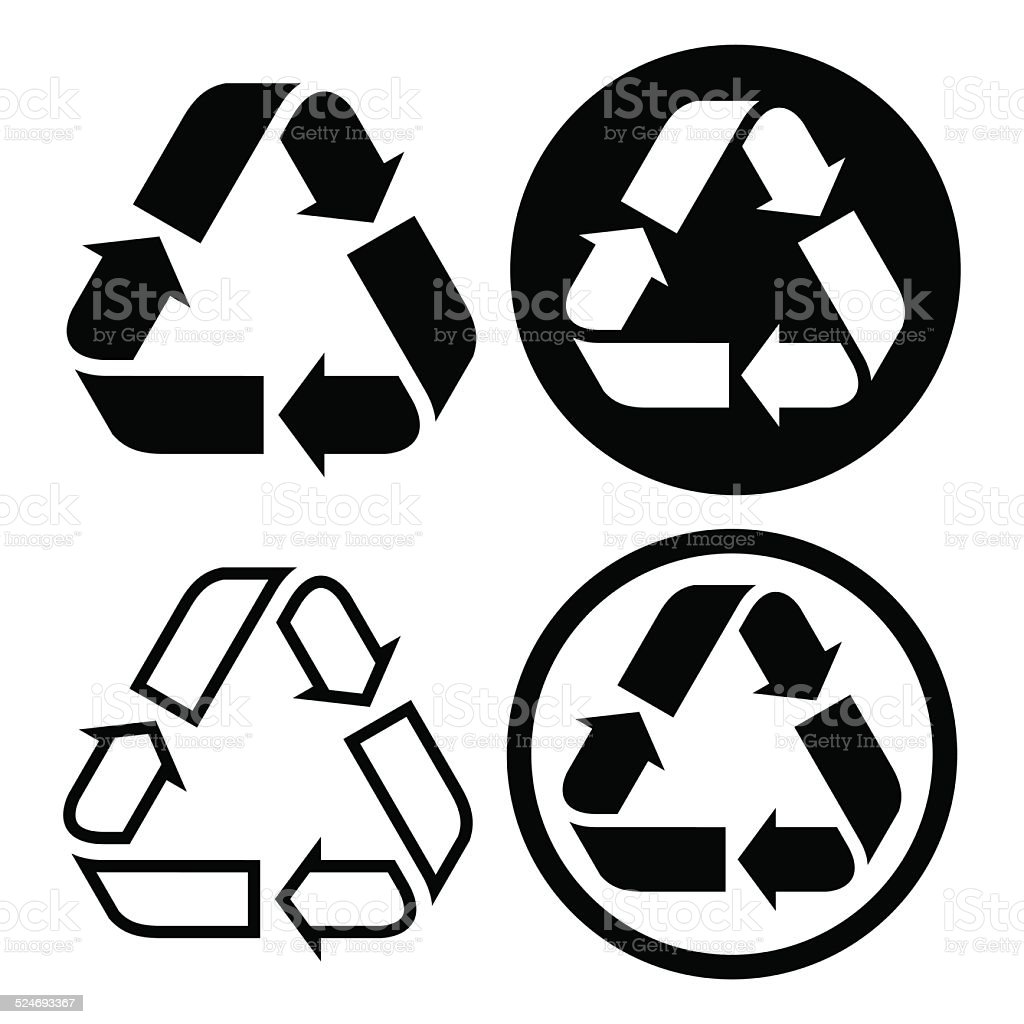 Recycle symbol set vector art illustration
