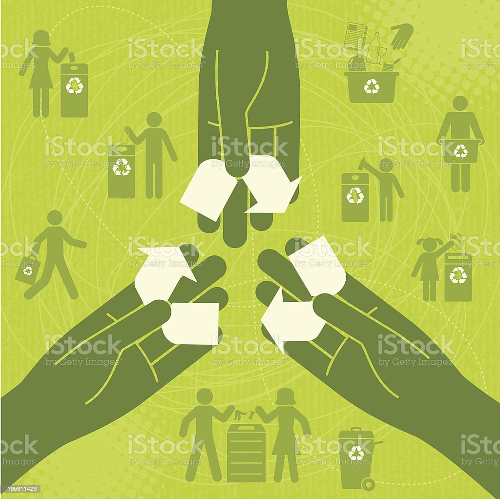 Recycle Together vector art illustration