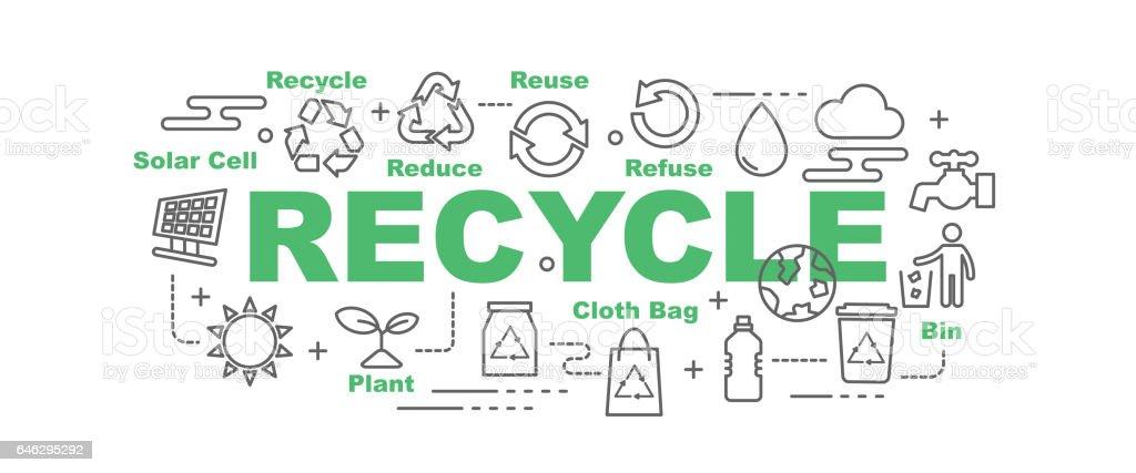 recycle vector banner vector art illustration