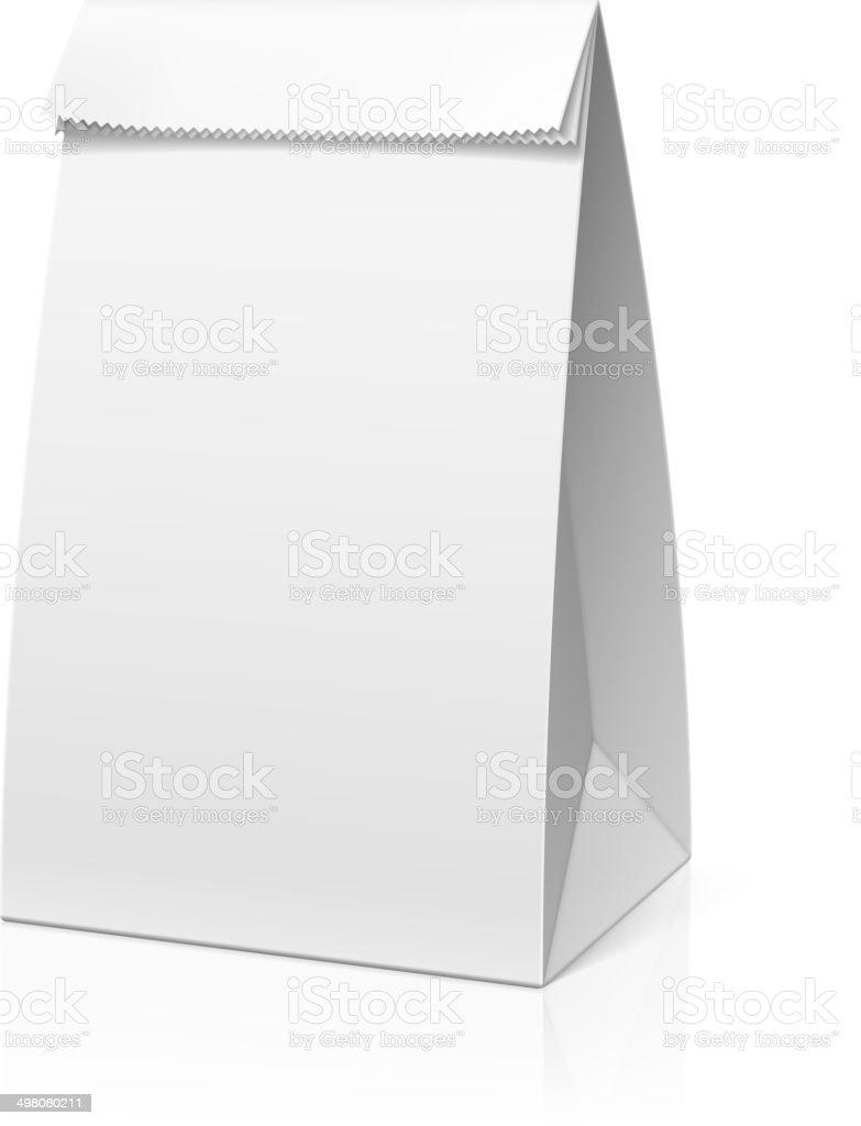Recycle white paper bag vector art illustration