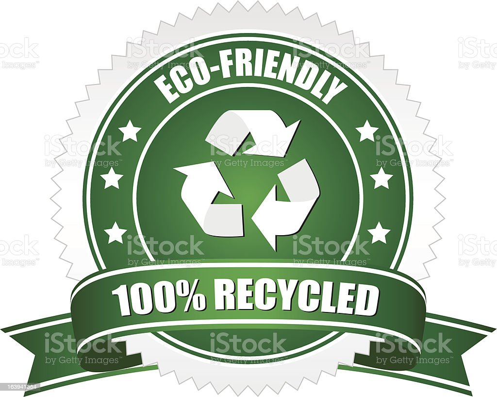 100% recycled badge royalty-free stock vector art