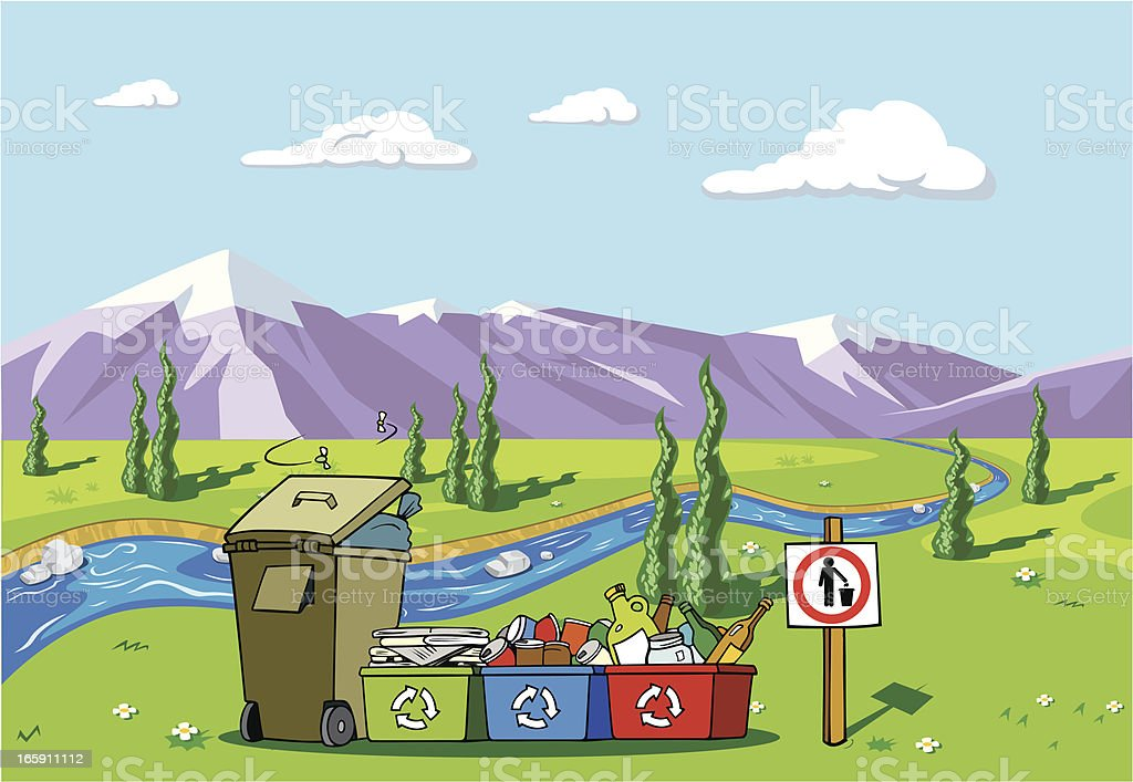 Recycled Items and Garbage in a Beautiful Landscape royalty-free stock vector art