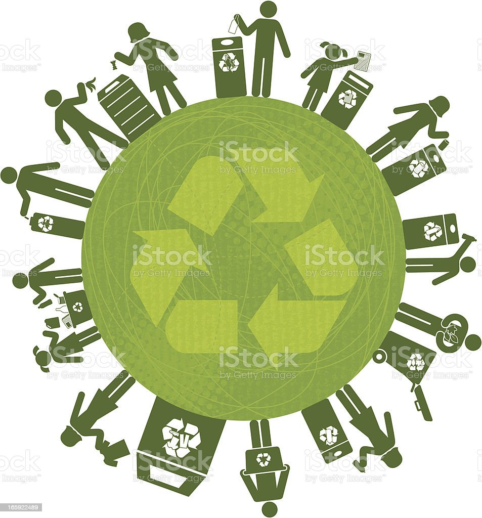 Recycling All Over The World royalty-free stock vector art