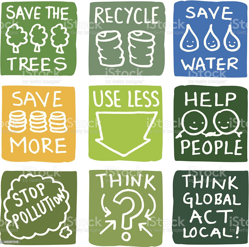 Recycling and environmental icon set vector art illustration