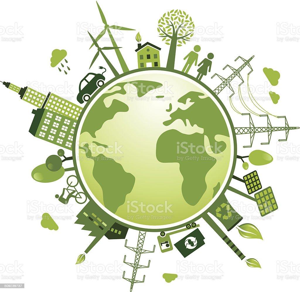Recycling and Green World-Illustration vector art illustration