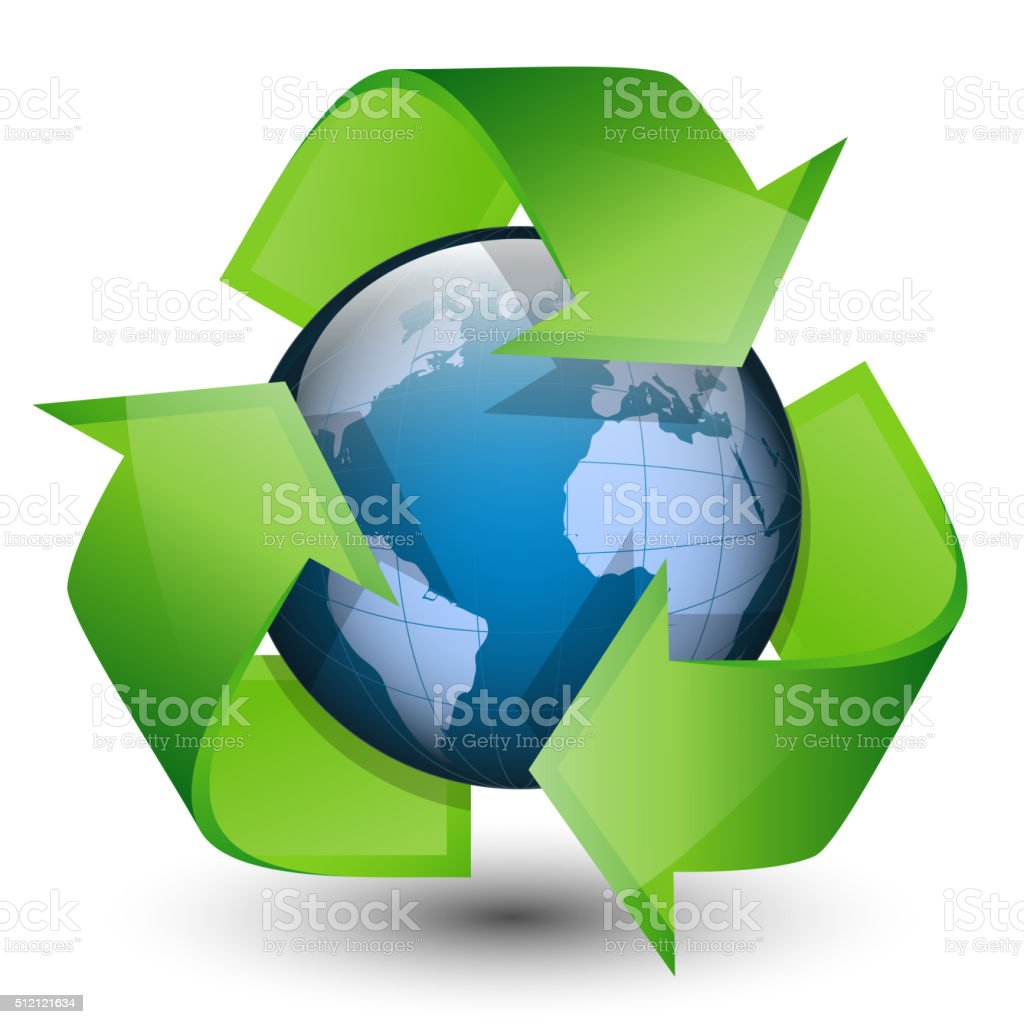 Recycling arrows and blue earth. vector art illustration
