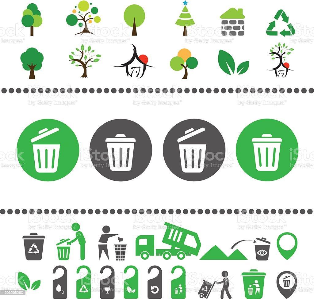 recycling bin and arrow icon vector art illustration