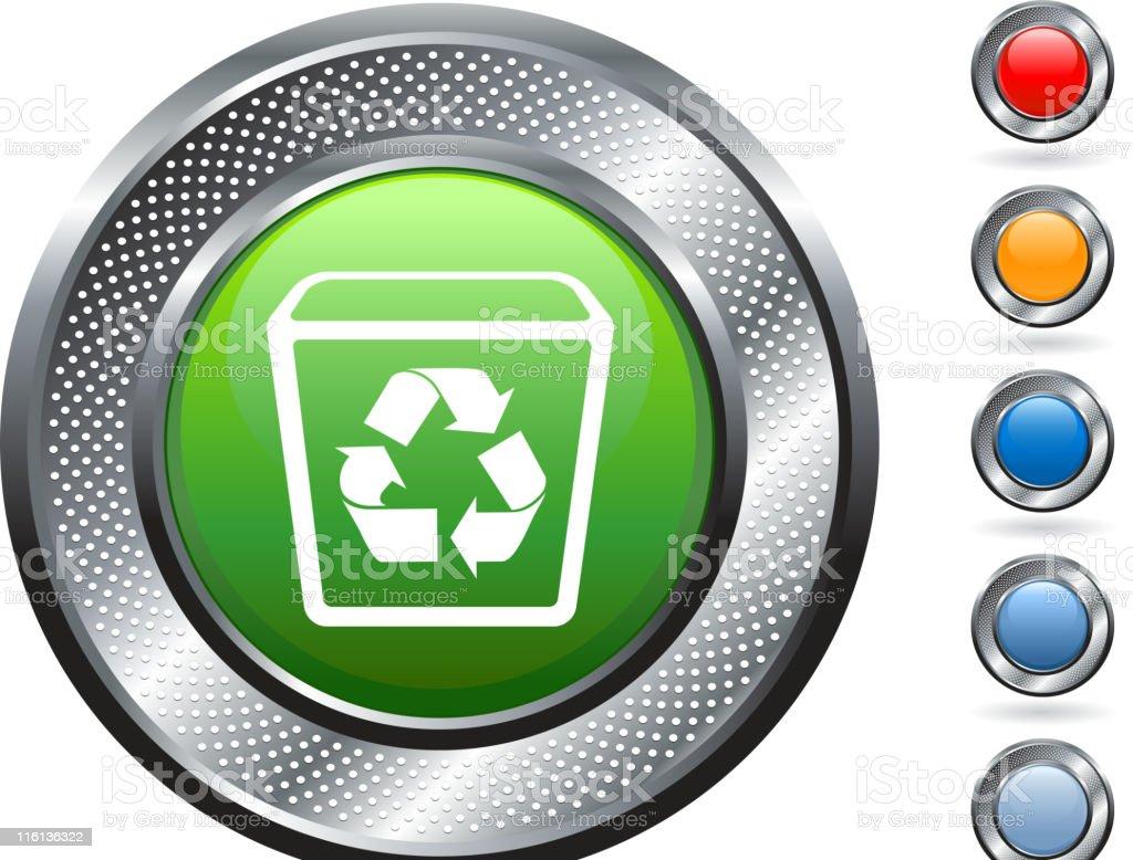 recycling bin royalty free vector art on metallic button royalty-free stock vector art
