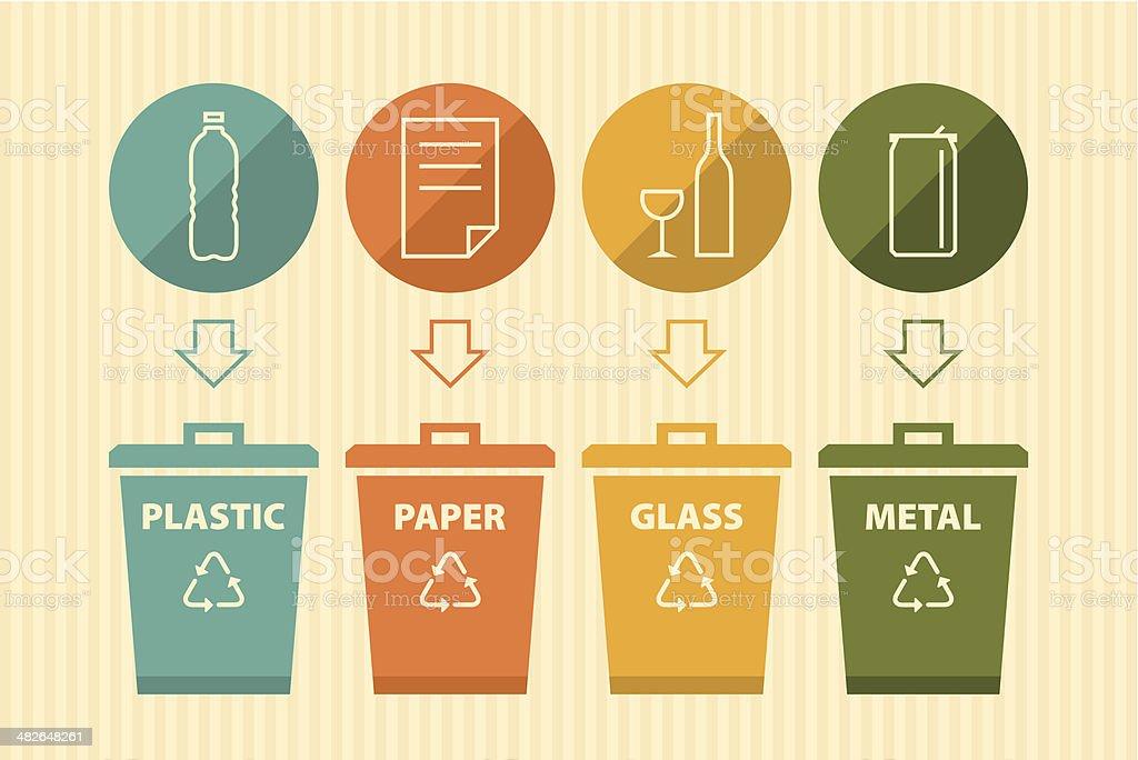 Recycling bin vector art illustration