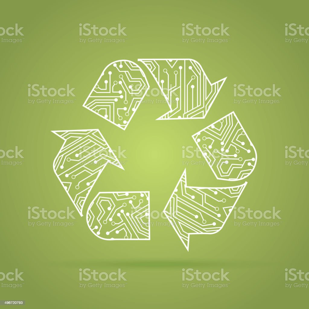 recycling circuit vector art illustration
