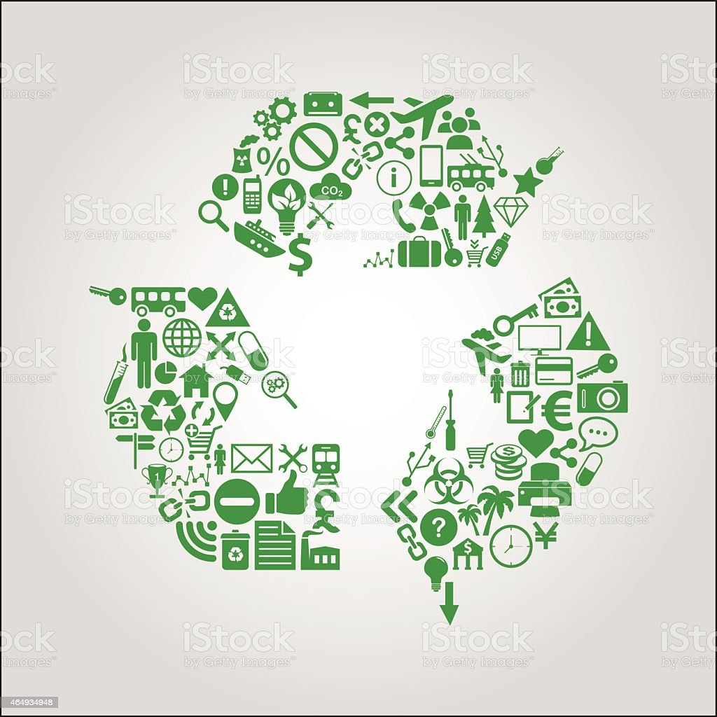 Recycling concept illustration - icons shaped into the recycle symbol vector art illustration
