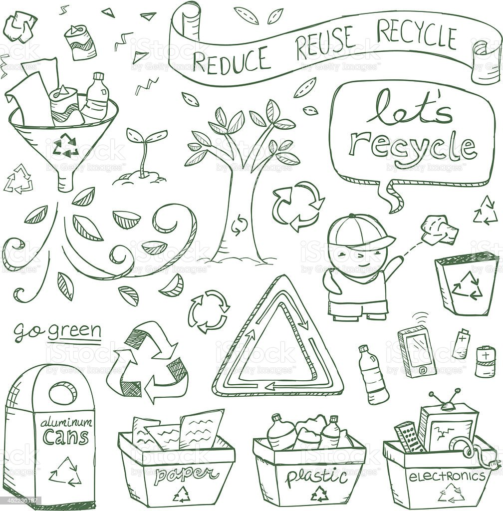 Recycling doodles graphic template vector art illustration