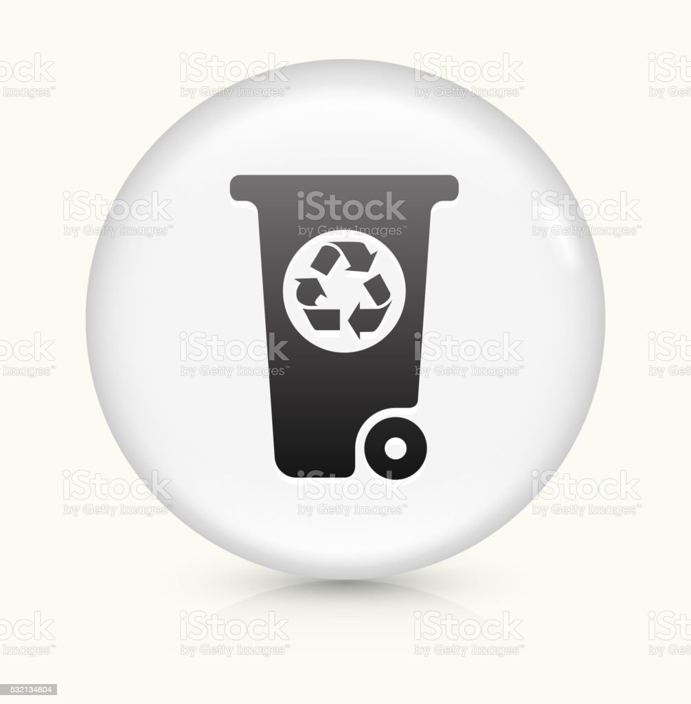 Recycling Garbage Can icon on white round vector button vector art illustration