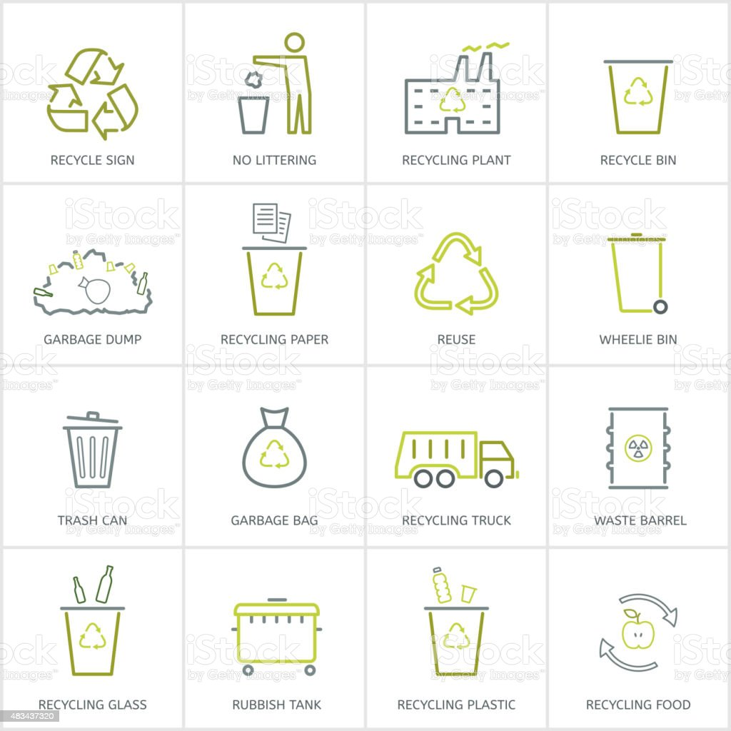 Recycling garbage icons set vector art illustration