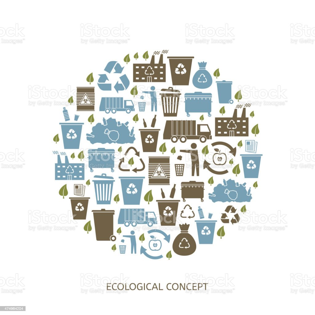 Recycling garbage icons vector art illustration