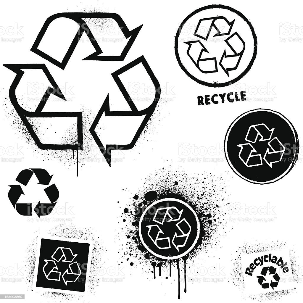 Recycling graffiti icons royalty-free stock vector art