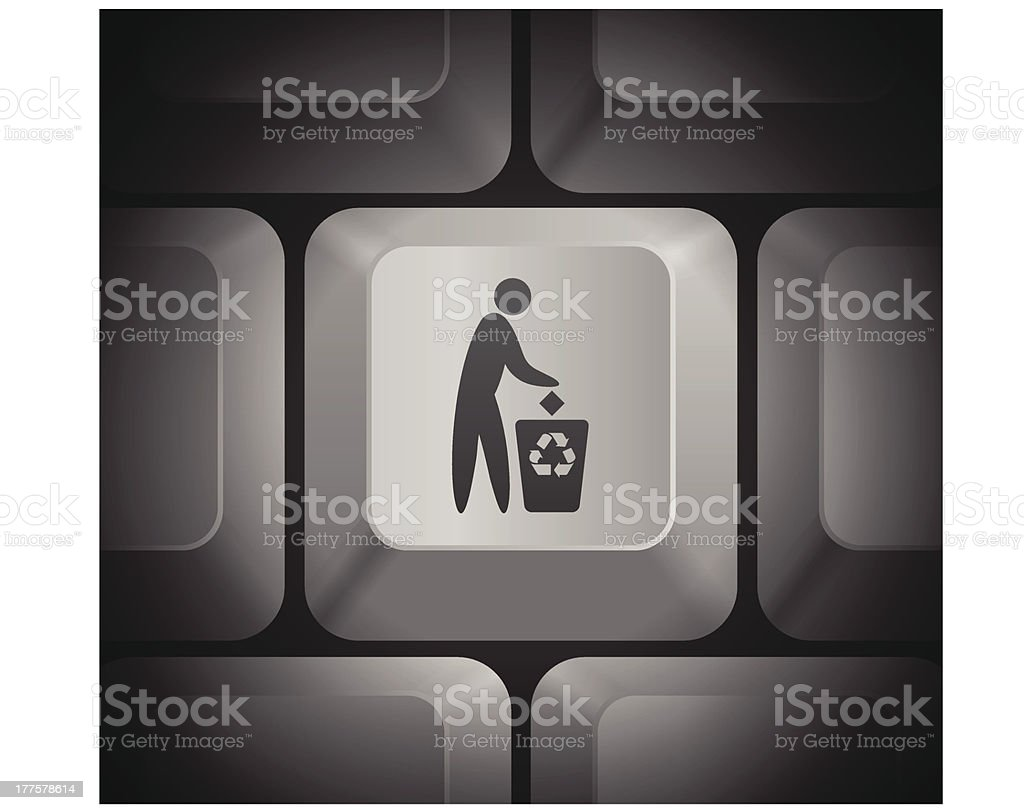 Recycling Icon on Computer Keyboard royalty-free stock vector art