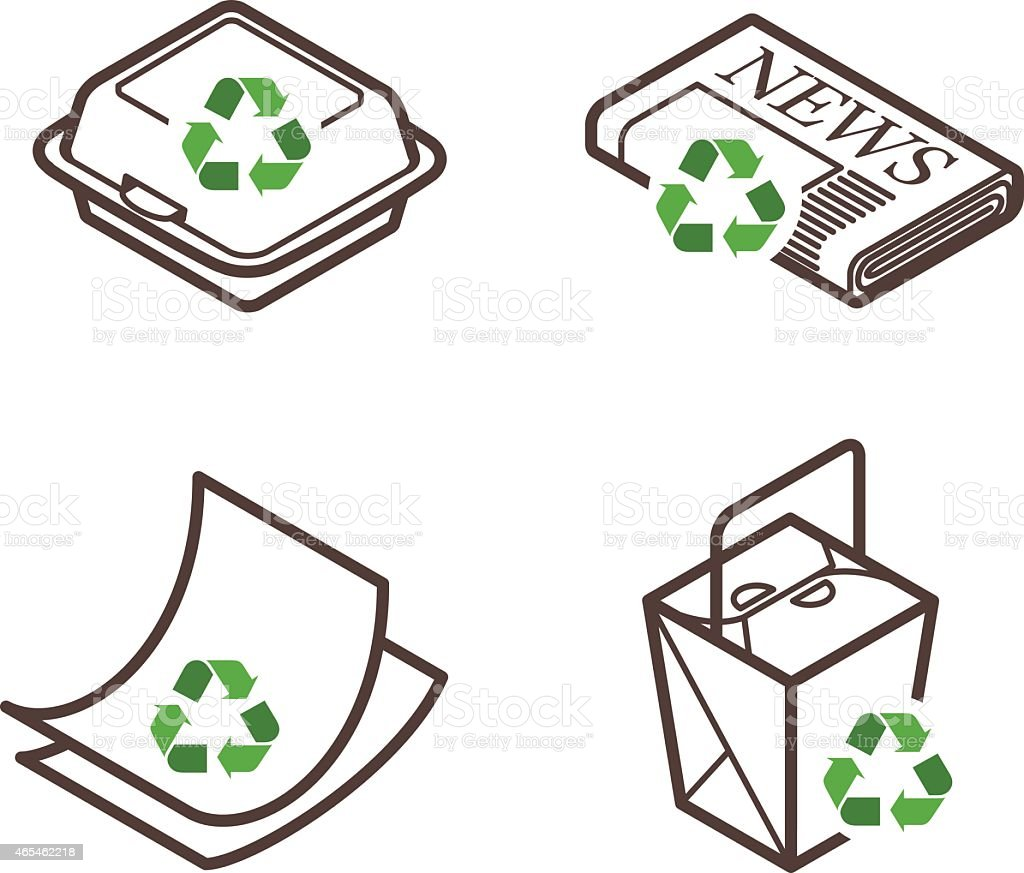 Recycling Icons vector art illustration