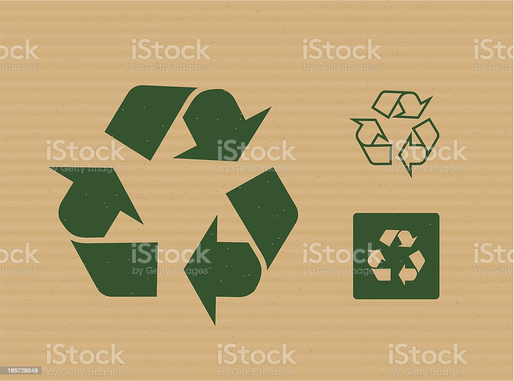 Recycling Logos on Cardboard royalty-free stock vector art