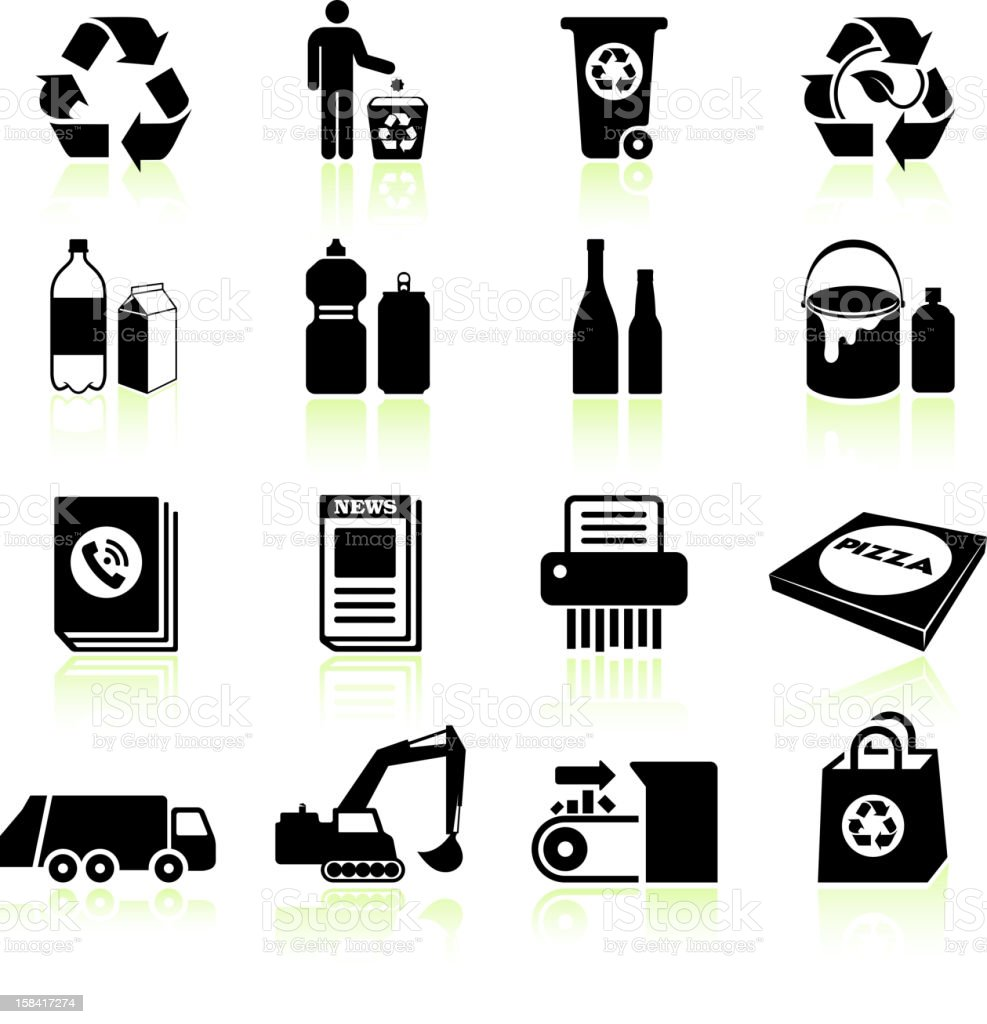 Recycling process black & white royalty free vector icon set vector art illustration