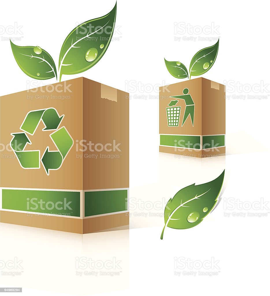 A recycling receptacle with leaves royalty-free stock vector art