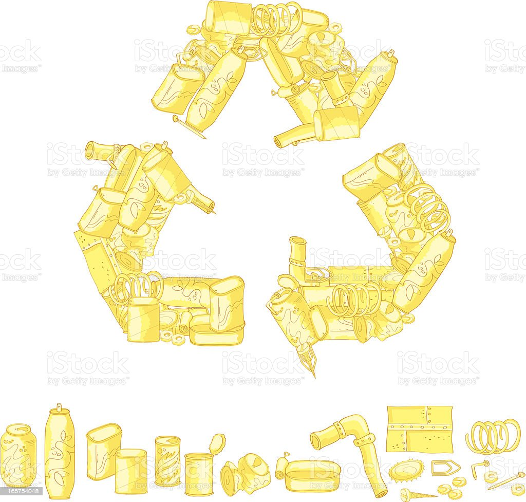 Recycling symbol made up of recycled items vector art illustration