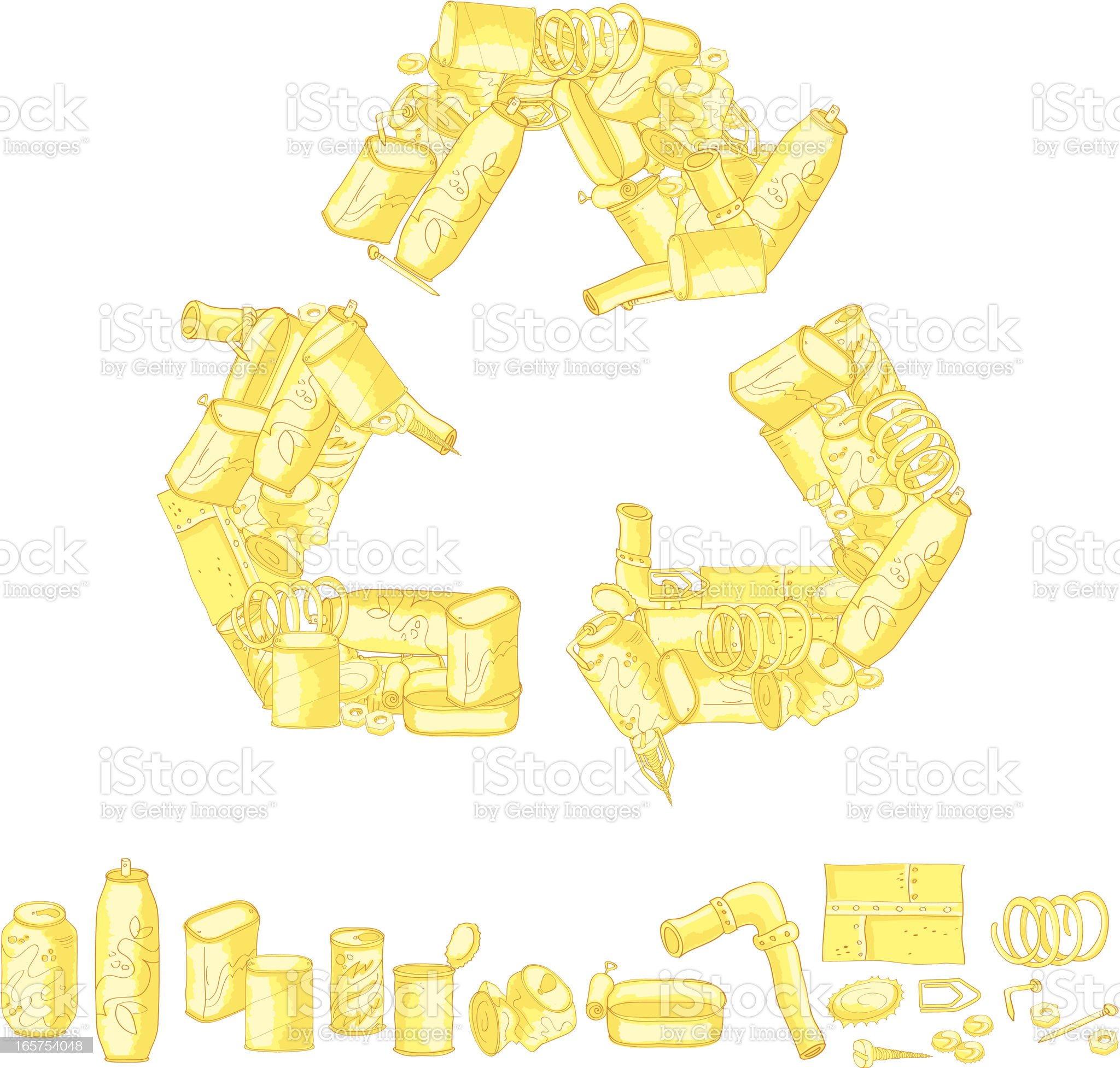 Recycling symbol made up of recycled items royalty-free stock vector art