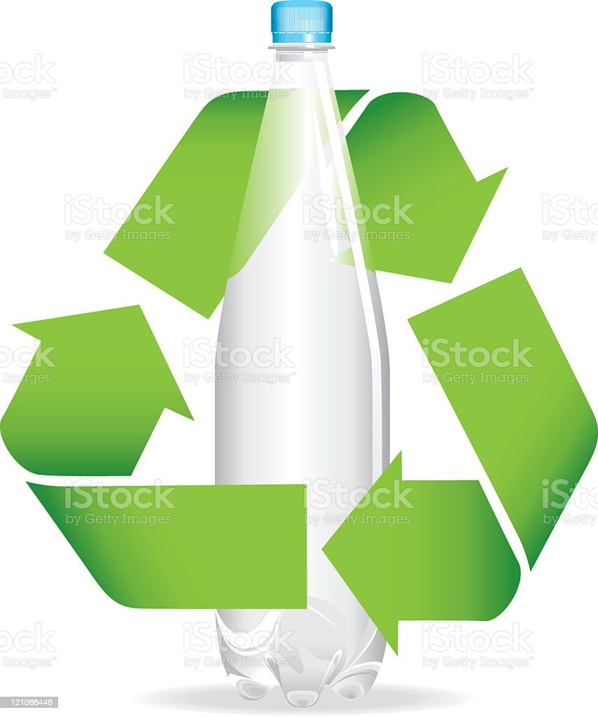 Recycling symbol with bottle royalty-free stock vector art