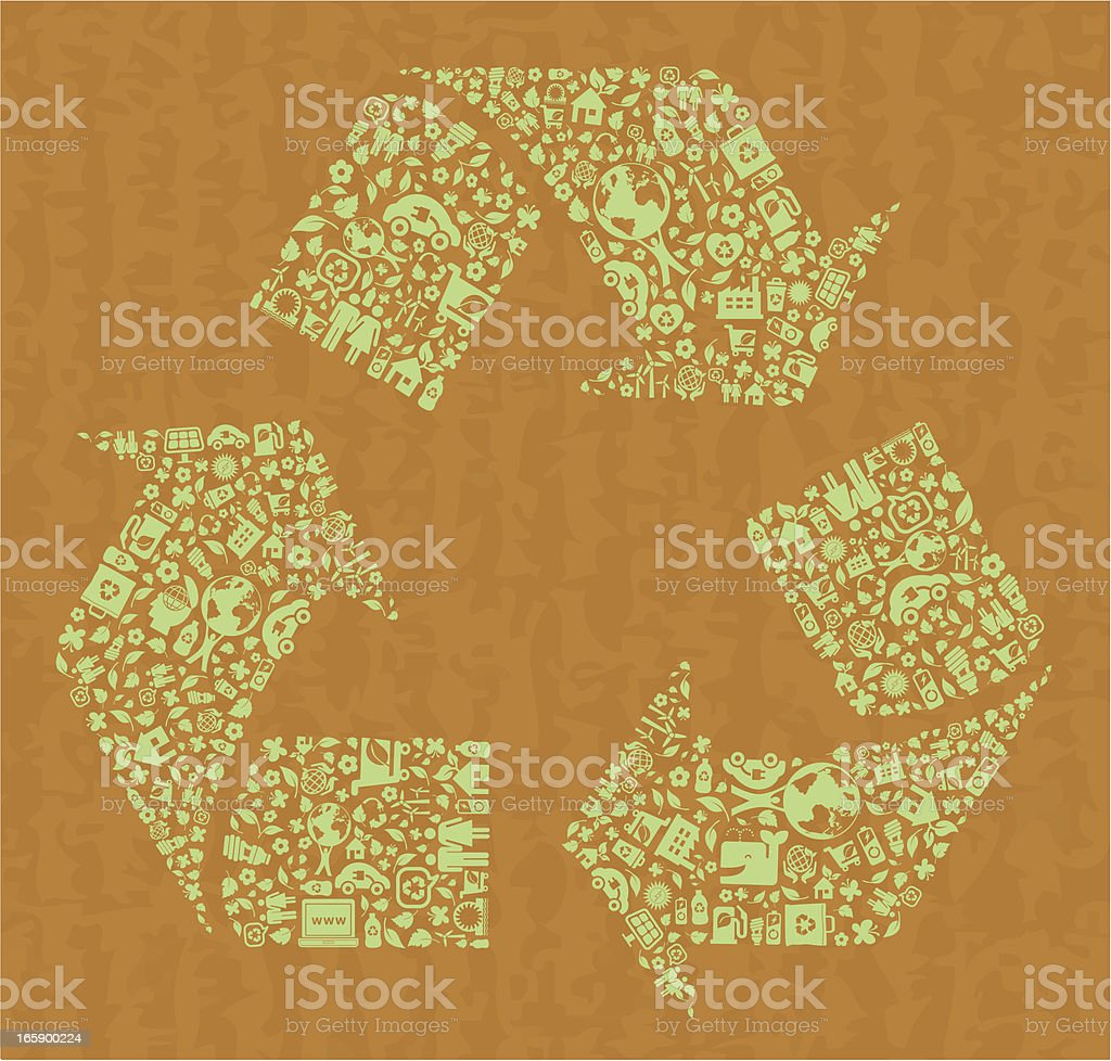 recycling symbol with green icons montage on cardboard vector art illustration