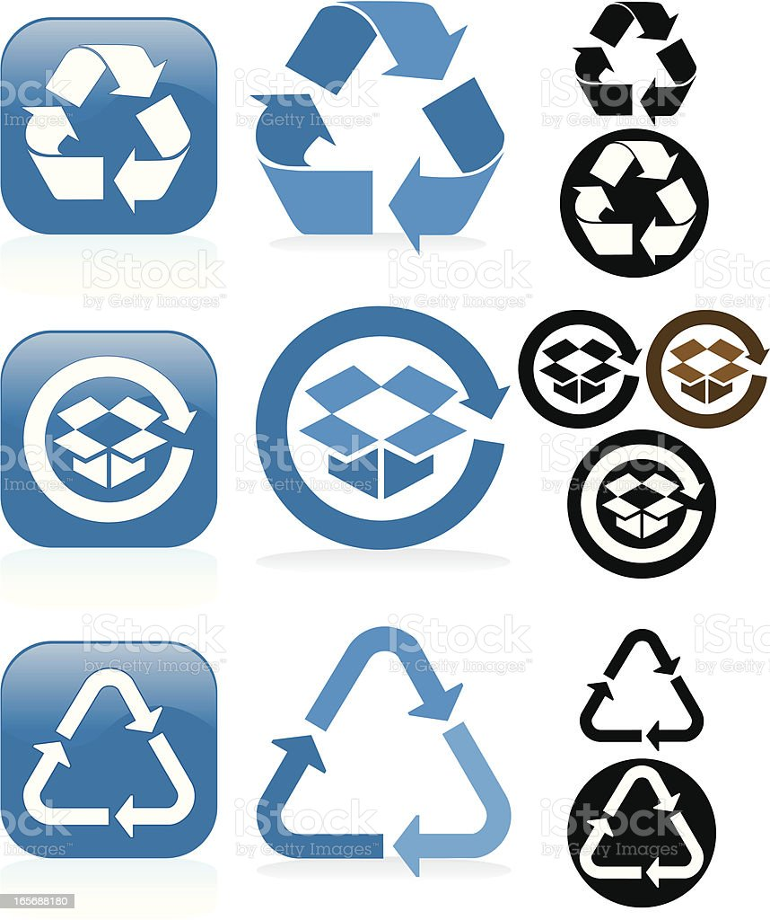 Recycling Symbols and Buttons Set - Blue, White, Black royalty-free stock vector art