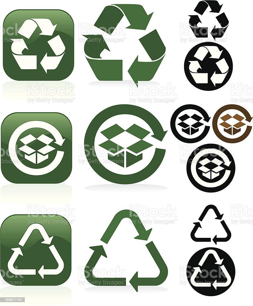 Recycling Symbole und Schaltflächen-Set-Grün, Weiß und Schwarz Lizenzfreies vektor illustration