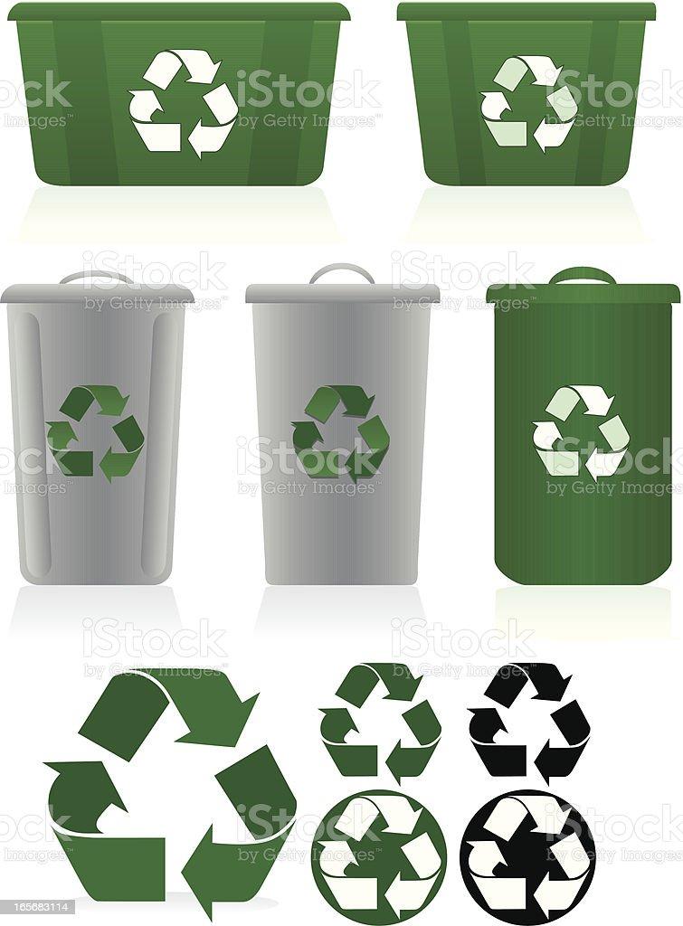 Recycling Symbole und Recycling-Abfalleimer Set-Grün, Weiß, Grau Lizenzfreies vektor illustration