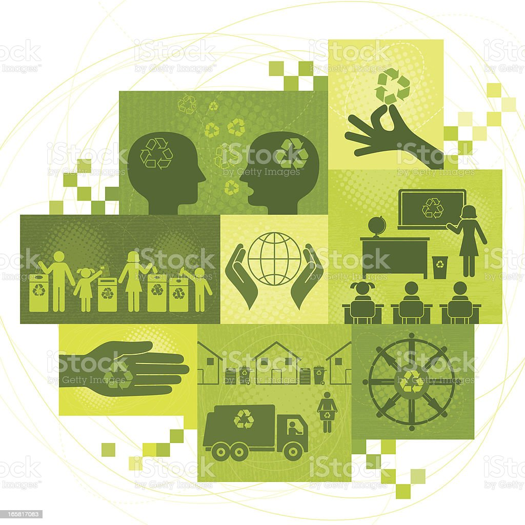 Recycling Themes Montage vector art illustration
