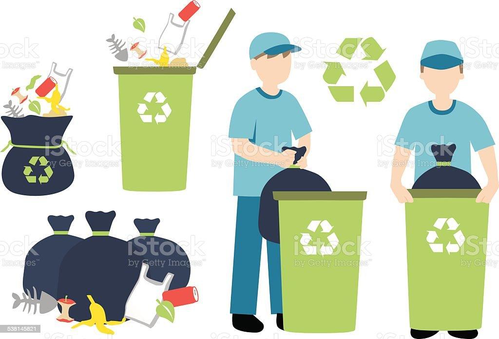 recycling trash vector art illustration