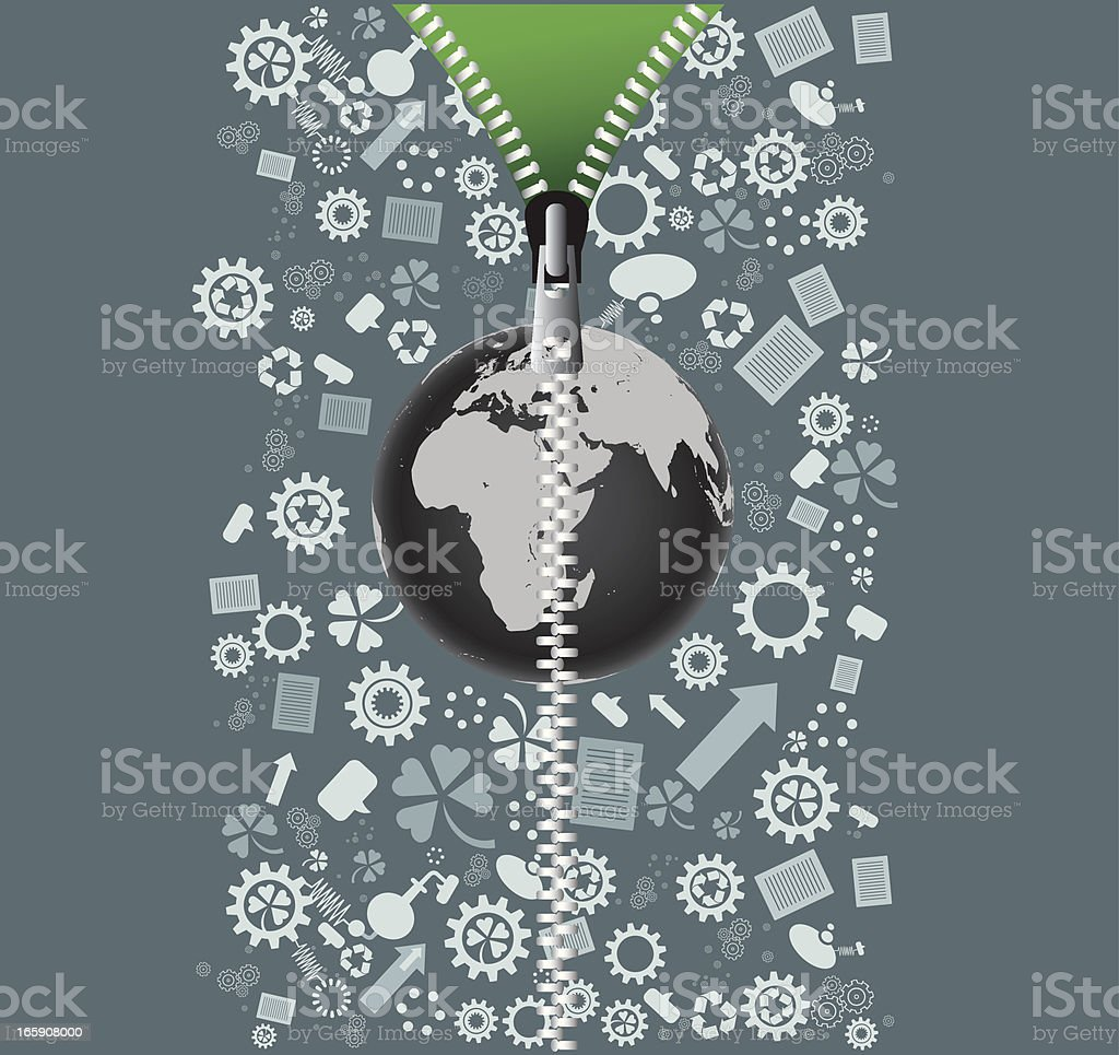 Recycling with zipper royalty-free stock vector art