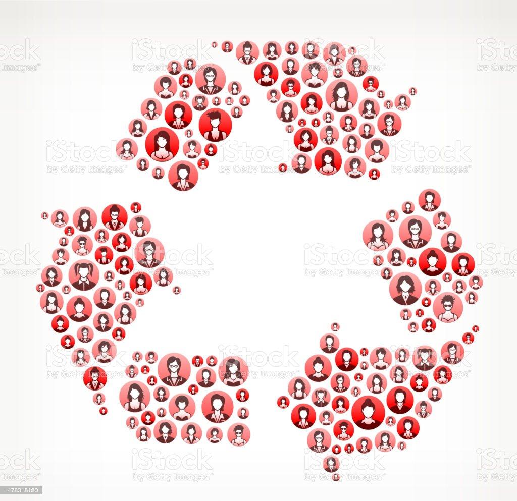 Recycling Women Faces Girl Power Pattern. vector art illustration
