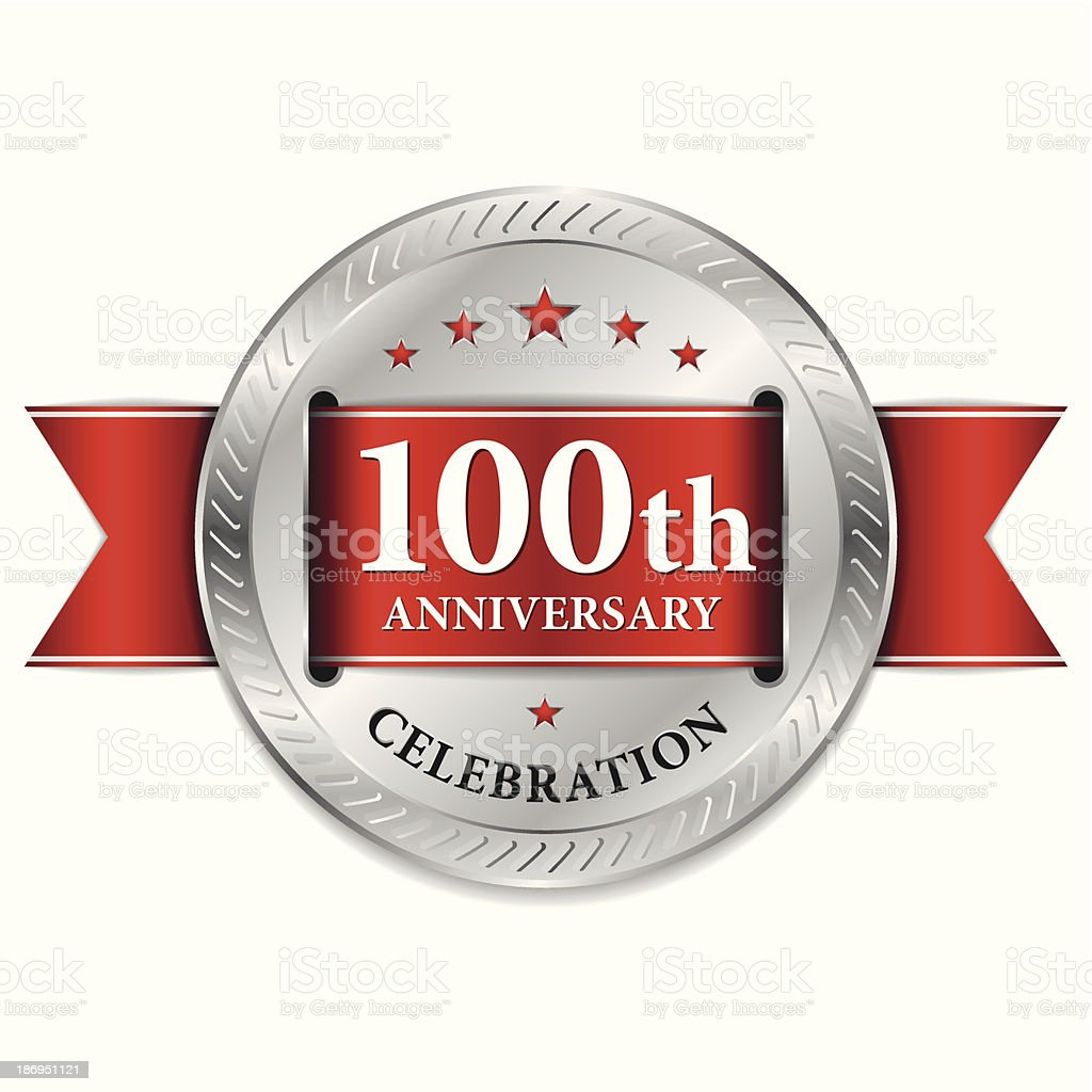 Red 100th anniversary seal royalty-free stock vector art