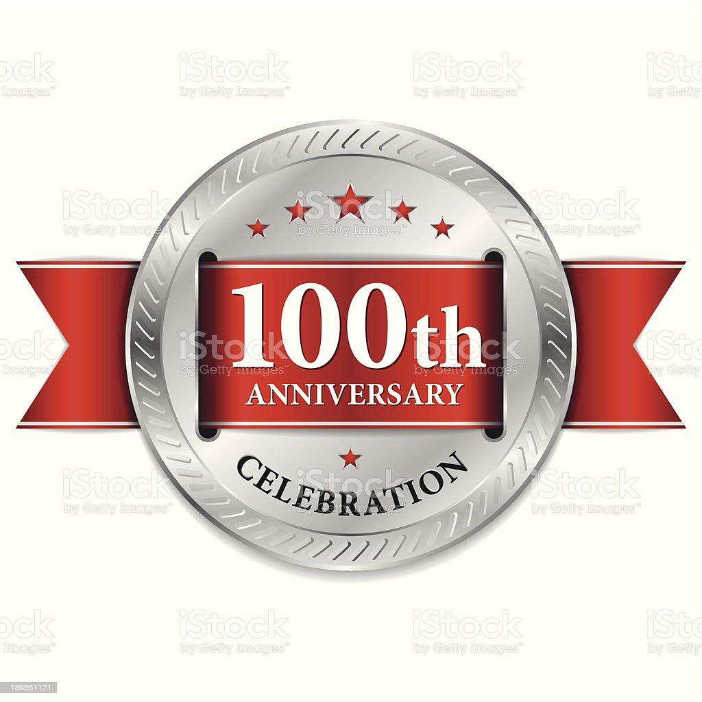 Red 100th anniversary seal vector art illustration