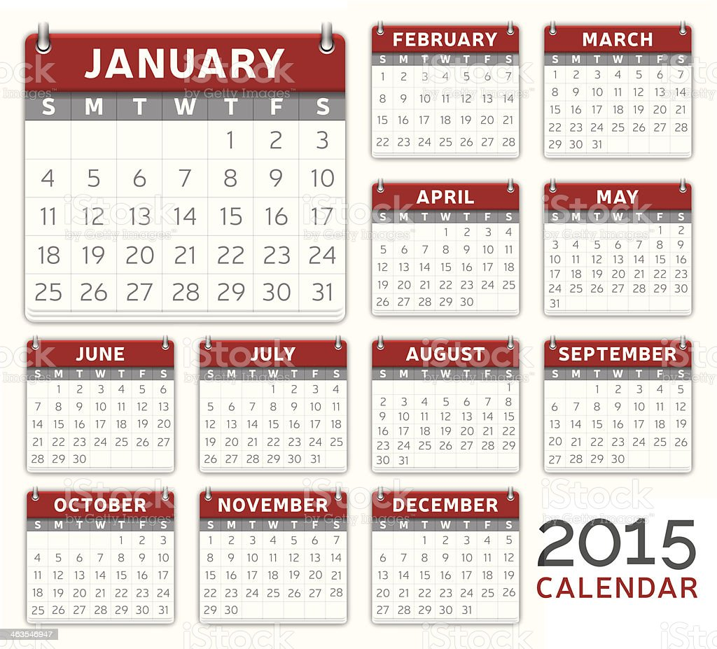 Red 2015 Calendar vector art illustration