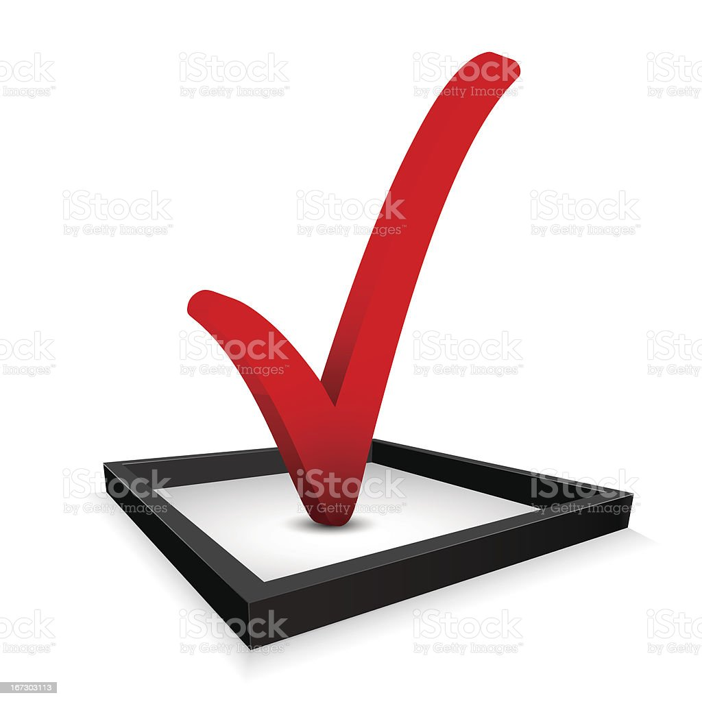 A red 3D check mark in a black box vector art illustration
